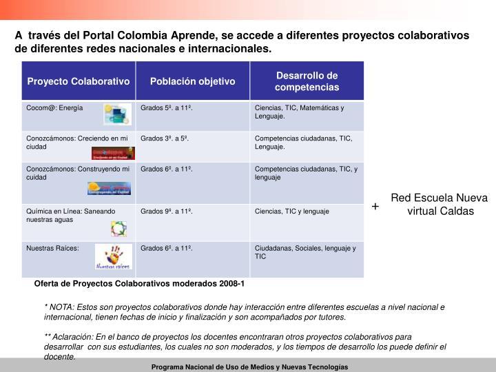 A  través del Portal Colombia Aprende, se accede a diferentes proyectos colaborativos de diferentes redes nacionales e internacionales.