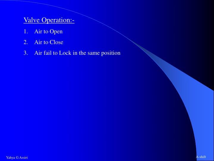 Valve Operation:-