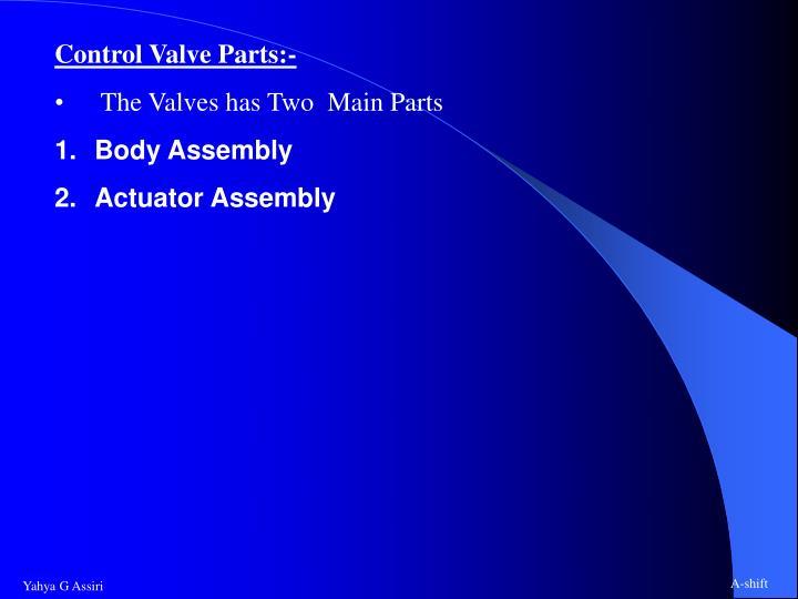 Control Valve Parts:-