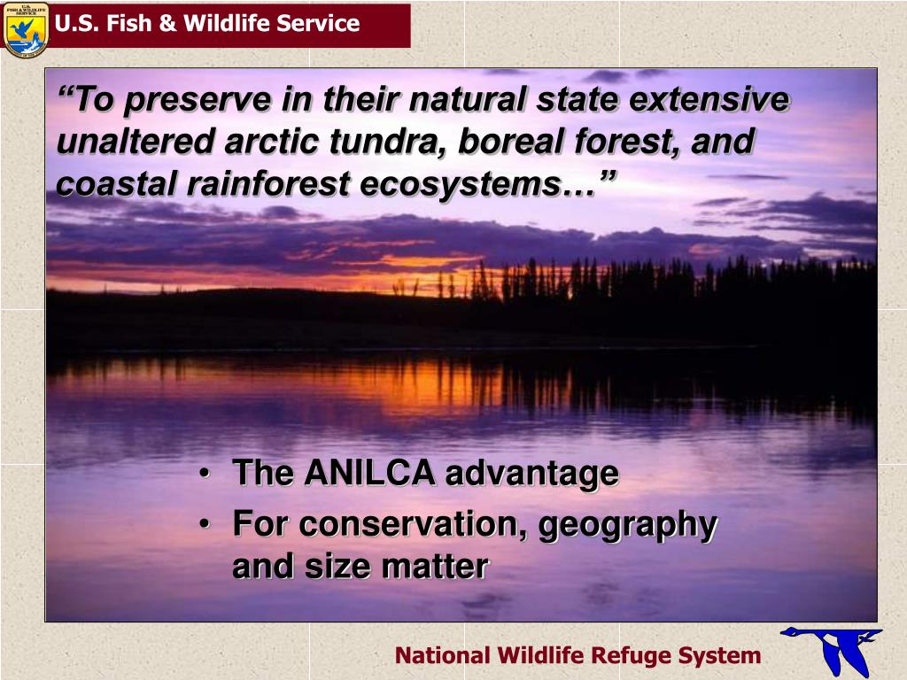 """To preserve in their natural state extensive unaltered arctic tundra, boreal forest, and coastal rainforest ecosystems…"""
