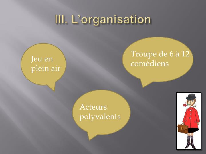 III. L'organisation