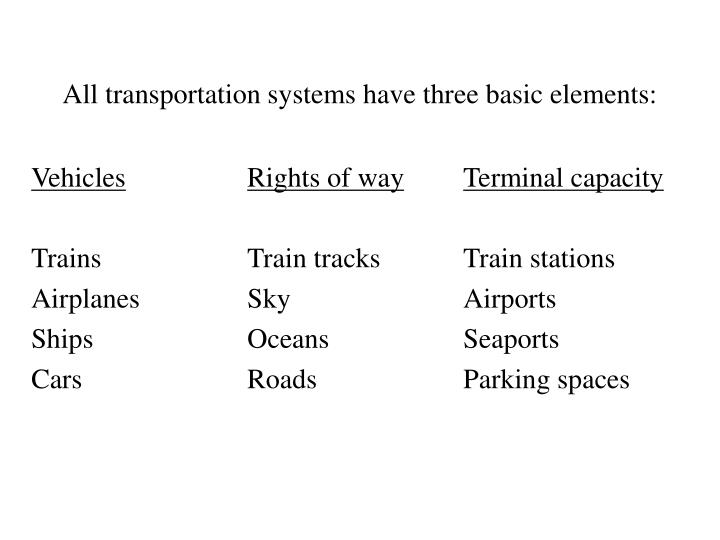 All transportation systems have three basic elements