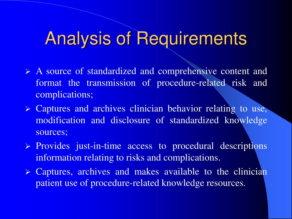 Analysis of Requirements