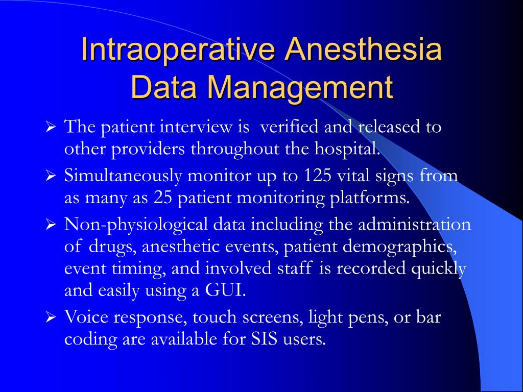Intraoperative Anesthesia Data Management