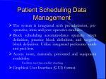patient scheduling data management