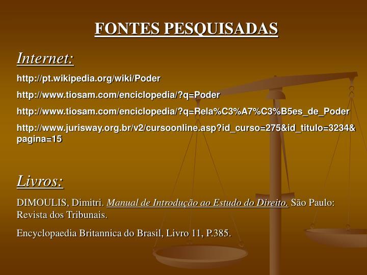 FONTES PESQUISADAS