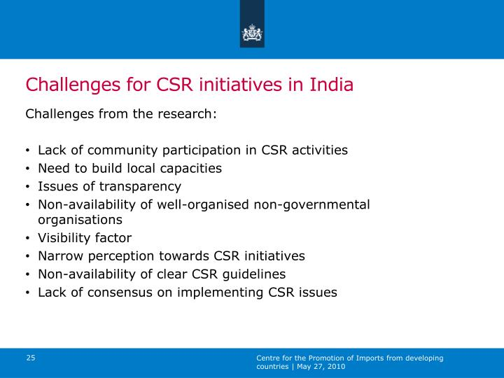 Challenges for CSR initiatives in India