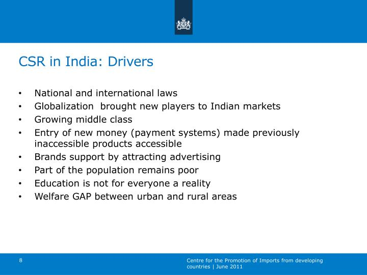 CSR in India: Drivers