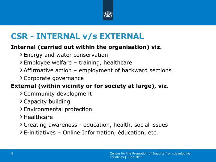 CSR - INTERNAL v/s EXTERNAL