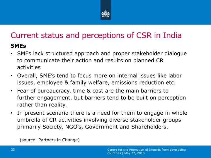 Current status and perceptions of CSR in India