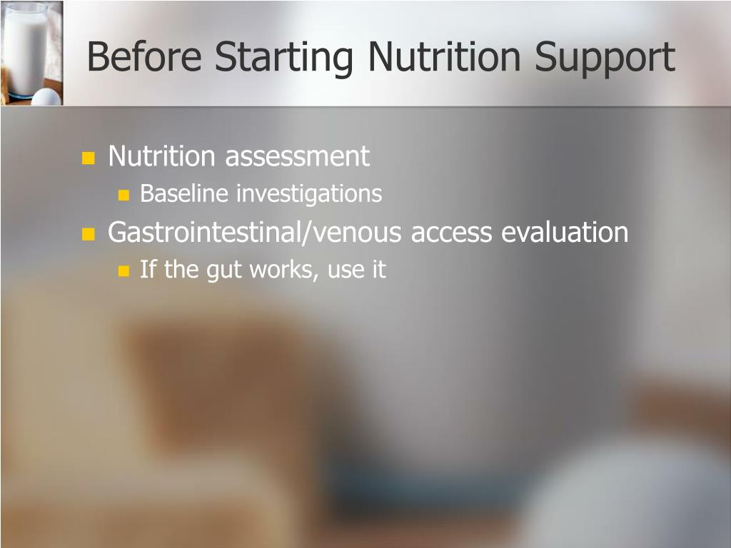 Before Starting Nutrition Support