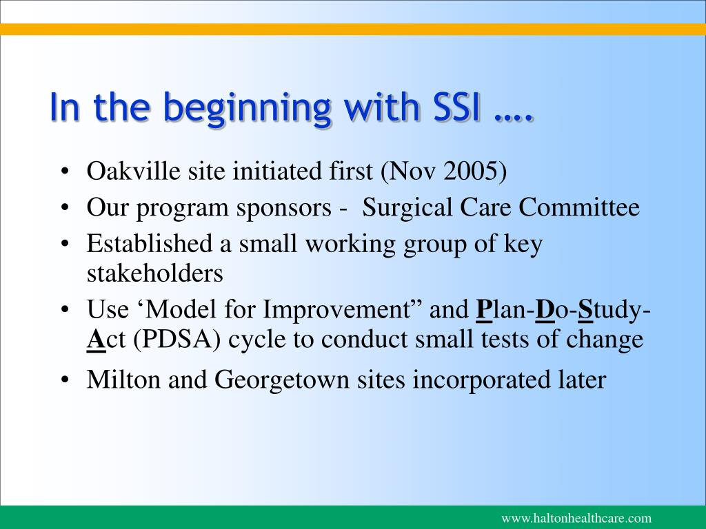 In the beginning with SSI ….