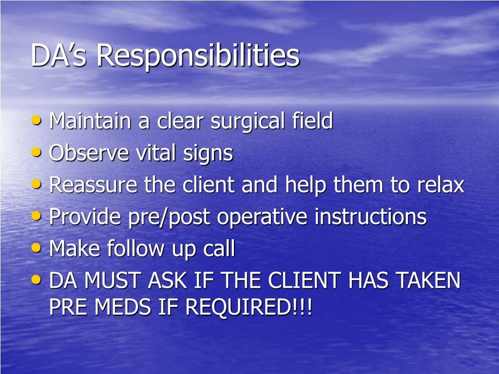 DA's Responsibilities