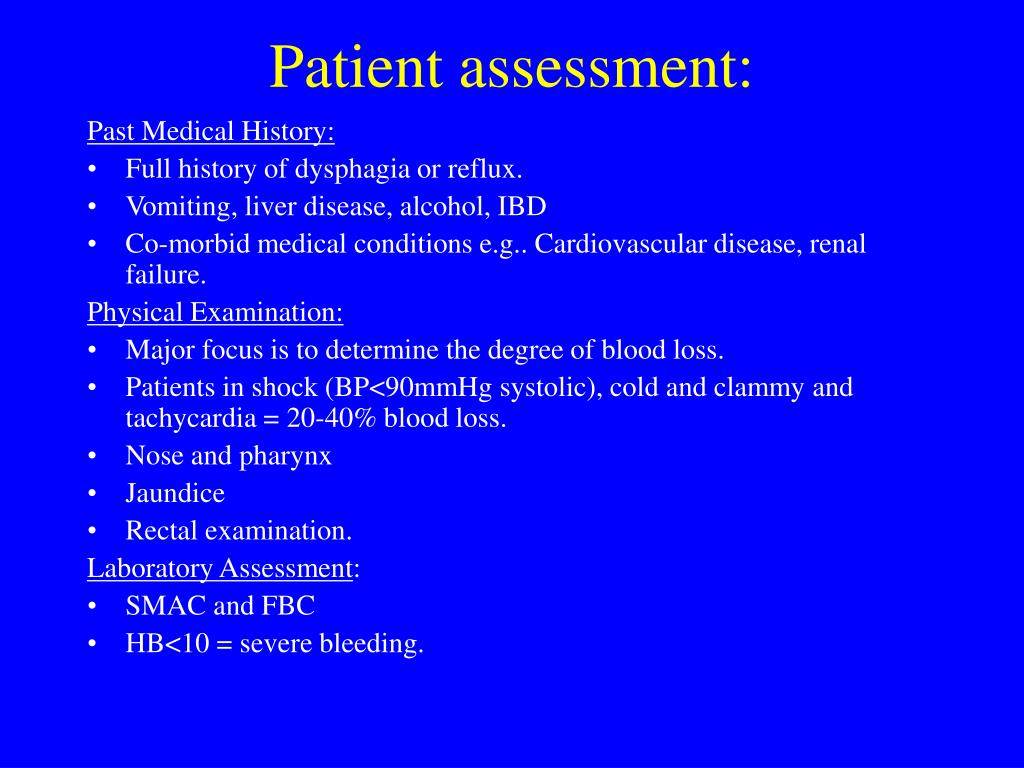 Patient assessment: