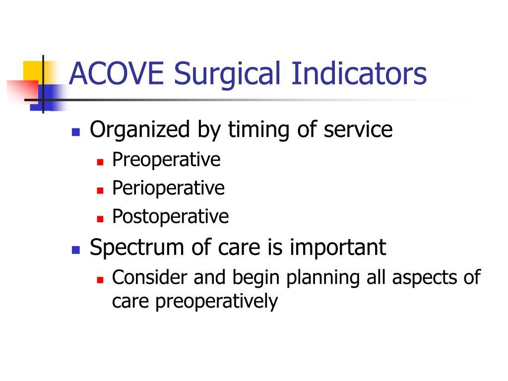 ACOVE Surgical Indicators