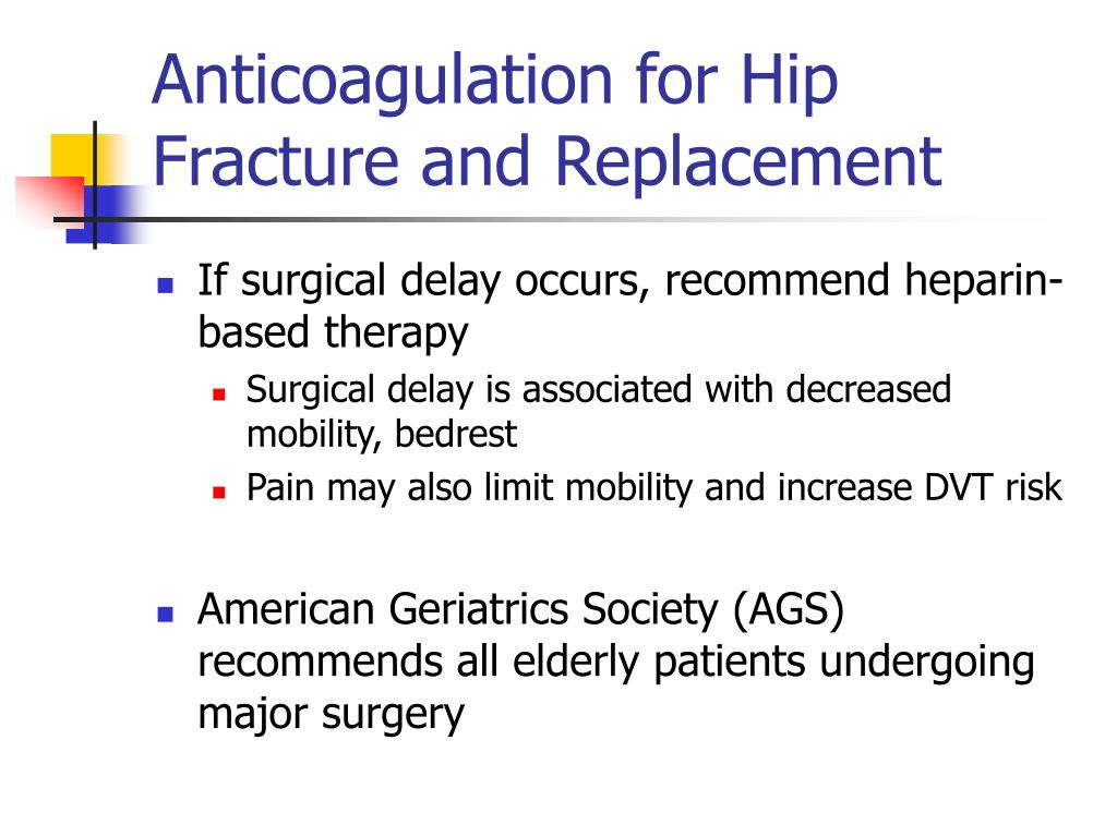 Anticoagulation for Hip Fracture and Replacement