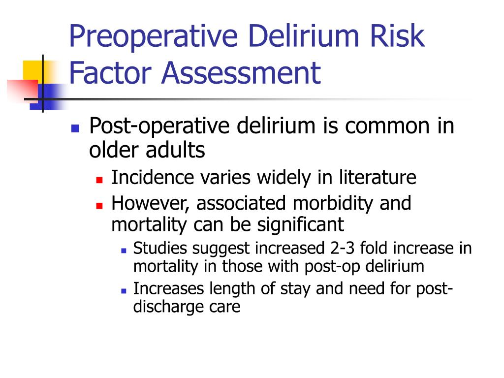 Preoperative Delirium Risk Factor Assessment