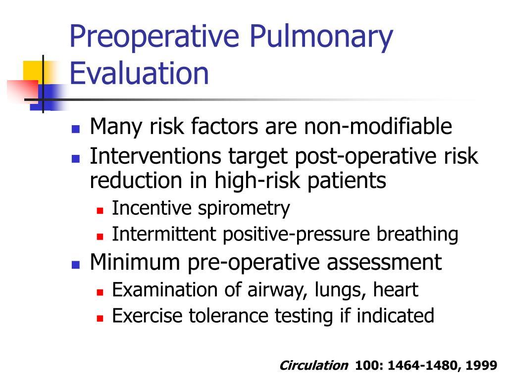 Preoperative Pulmonary Evaluation
