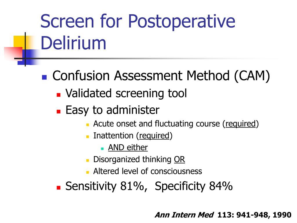 Screen for Postoperative Delirium