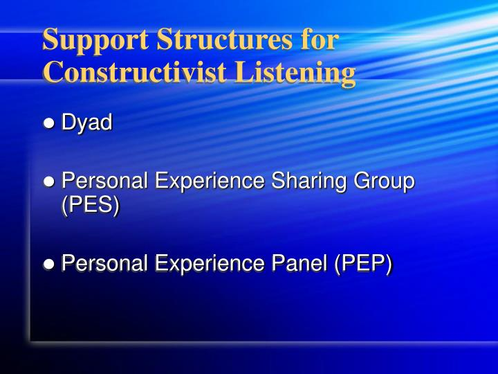 Support Structures for Constructivist Listening