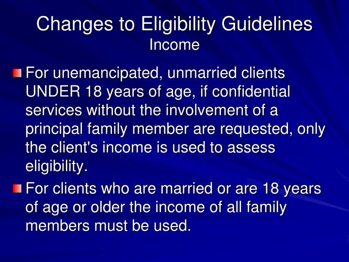 Changes to Eligibility Guidelines