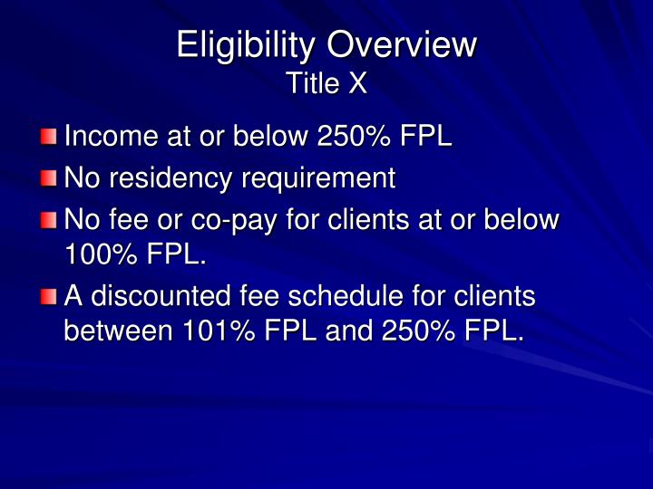 Eligibility Overview