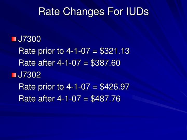 Rate Changes For IUDs