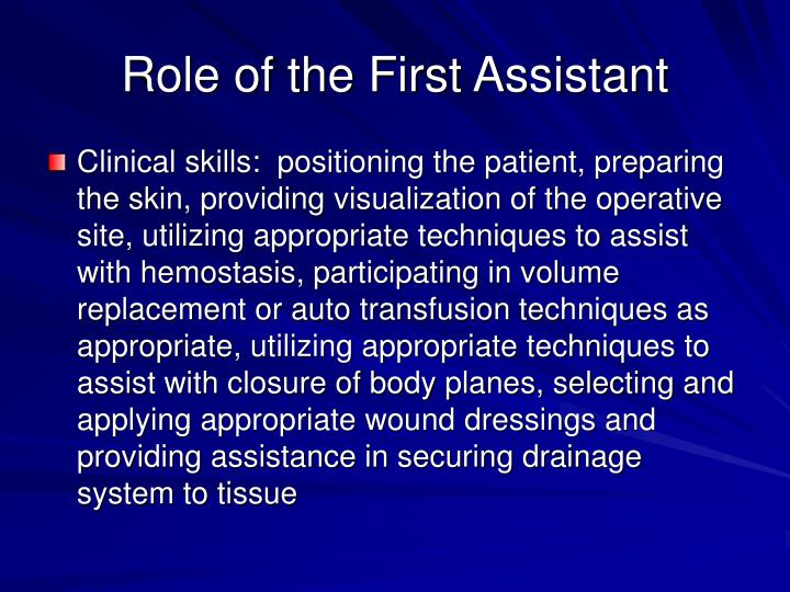 Role of the first assistant3