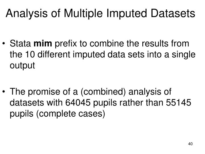 Analysis of Multiple Imputed Datasets