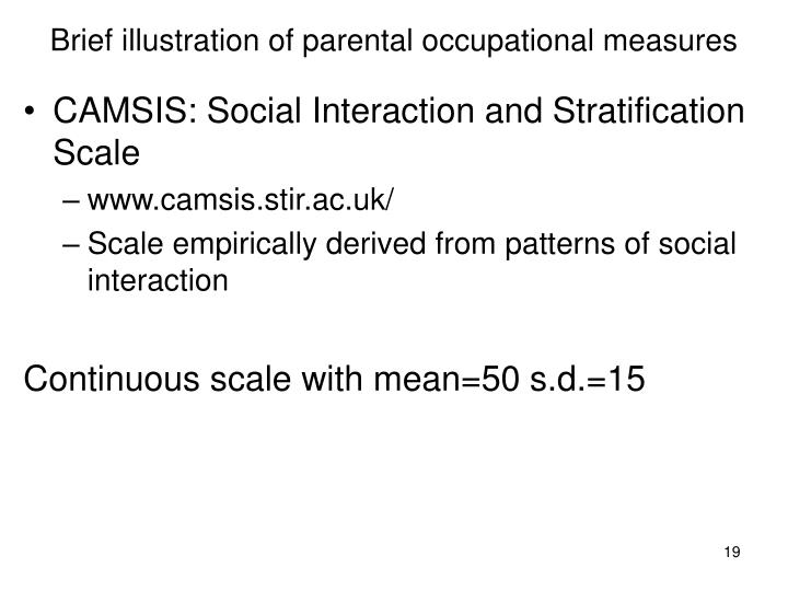 Brief illustration of parental occupational measures