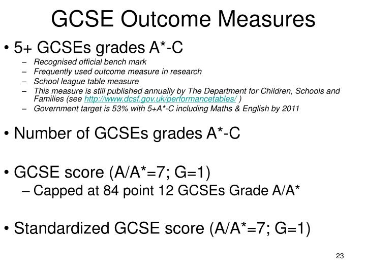 GCSE Outcome Measures