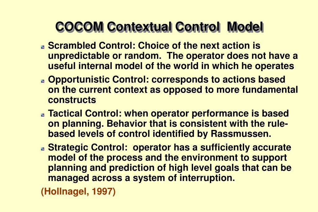 COCOM Contextual Control  Model