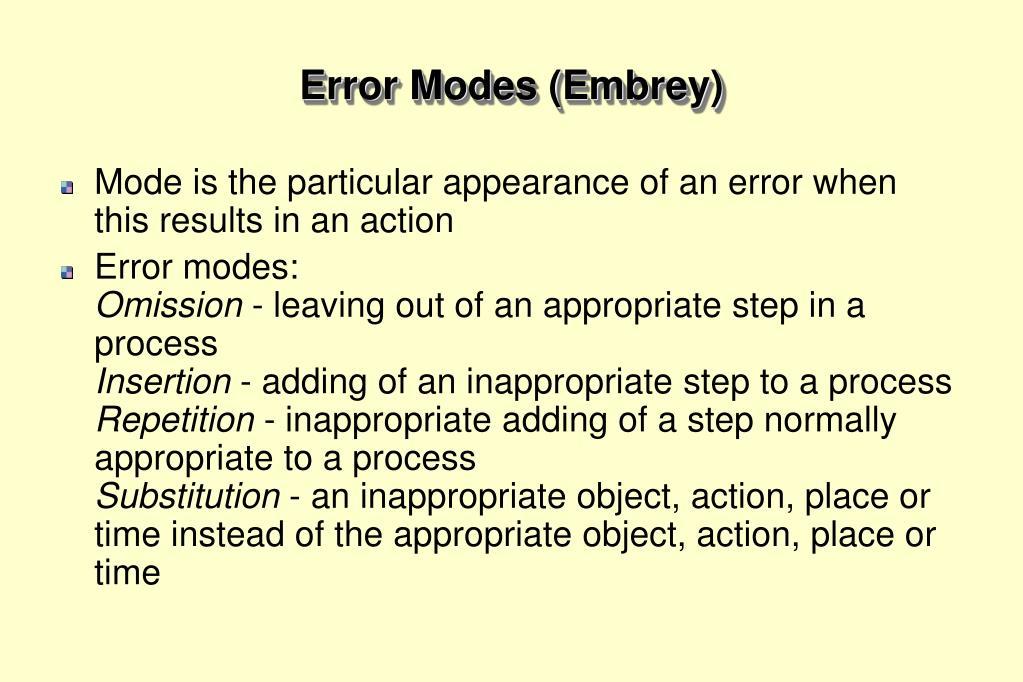 Error Modes (Embrey)