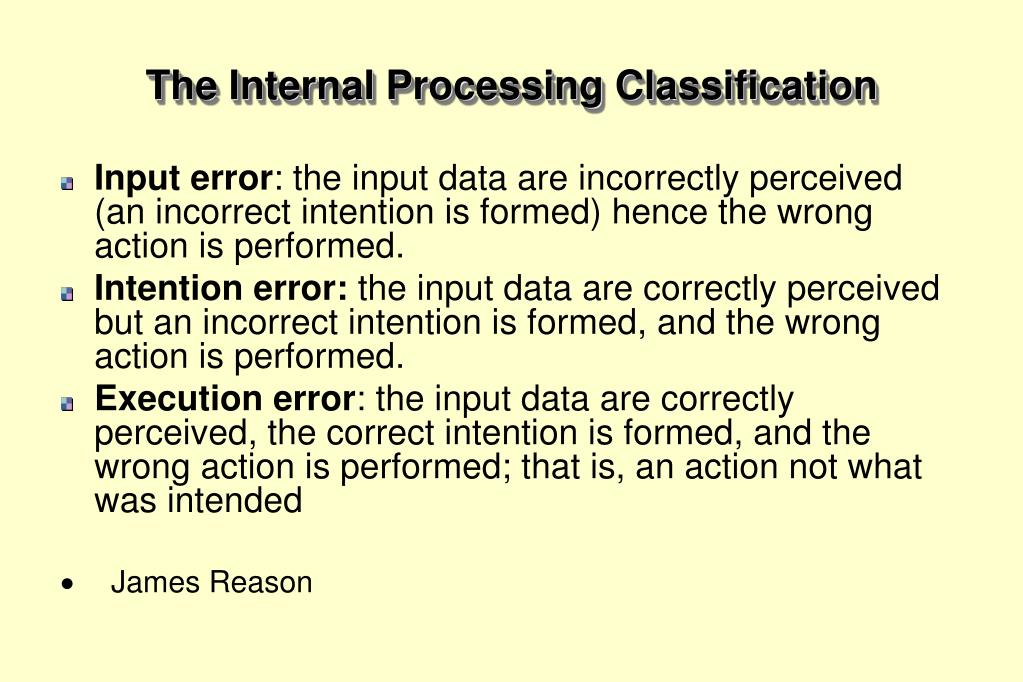 The Internal Processing Classification