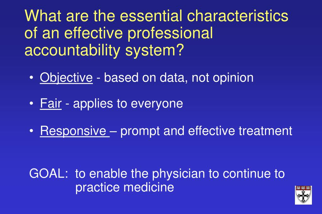 What are the essential characteristics of an effective professional accountability system?