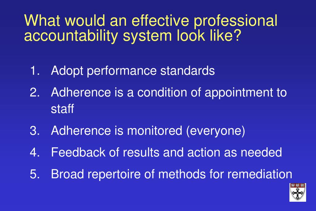 What would an effective professional accountability system look like?