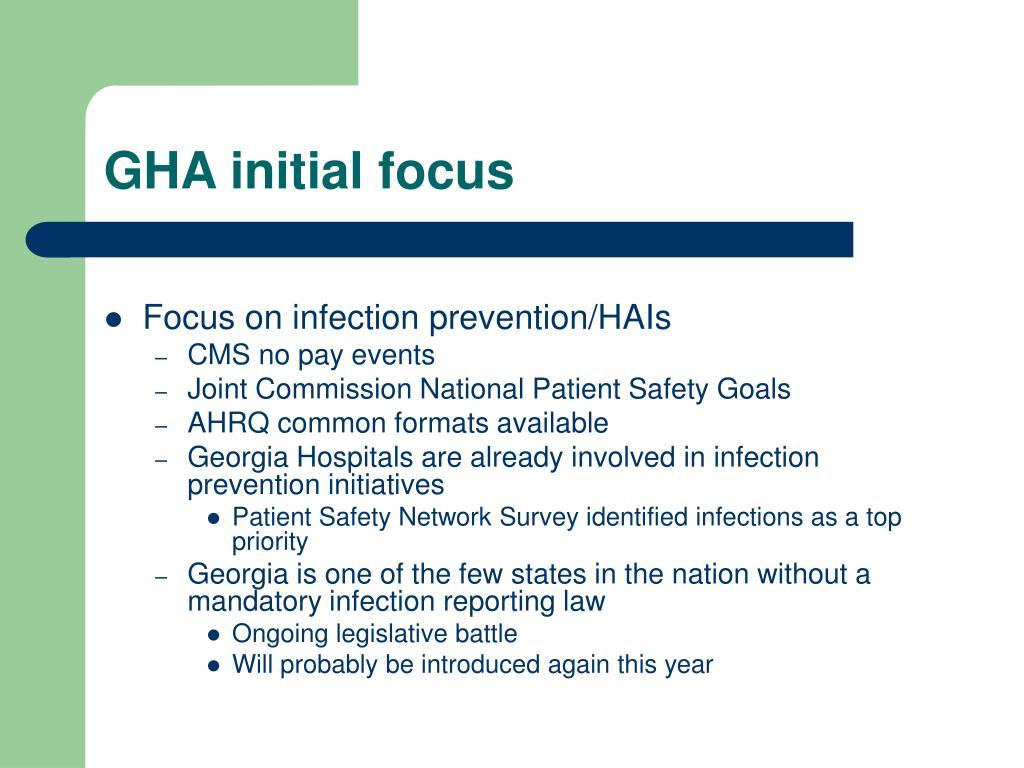 GHA initial focus