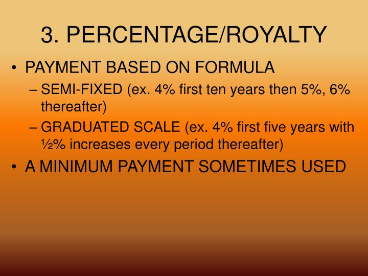 3. PERCENTAGE/ROYALTY