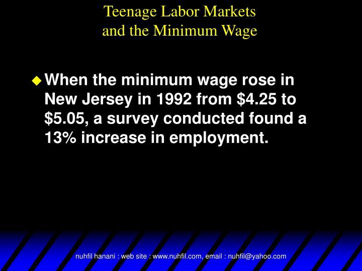 Teenage Labor Markets
