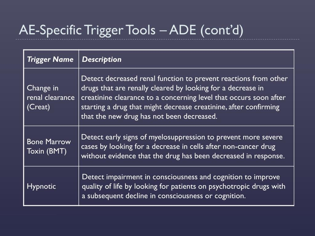 AE-Specific Trigger Tools – ADE (cont'd)