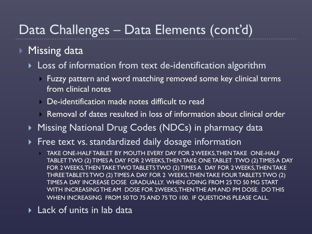 Data Challenges – Data Elements (cont'd)