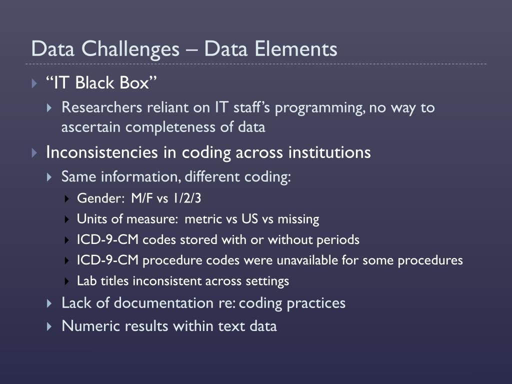 Data Challenges – Data Elements
