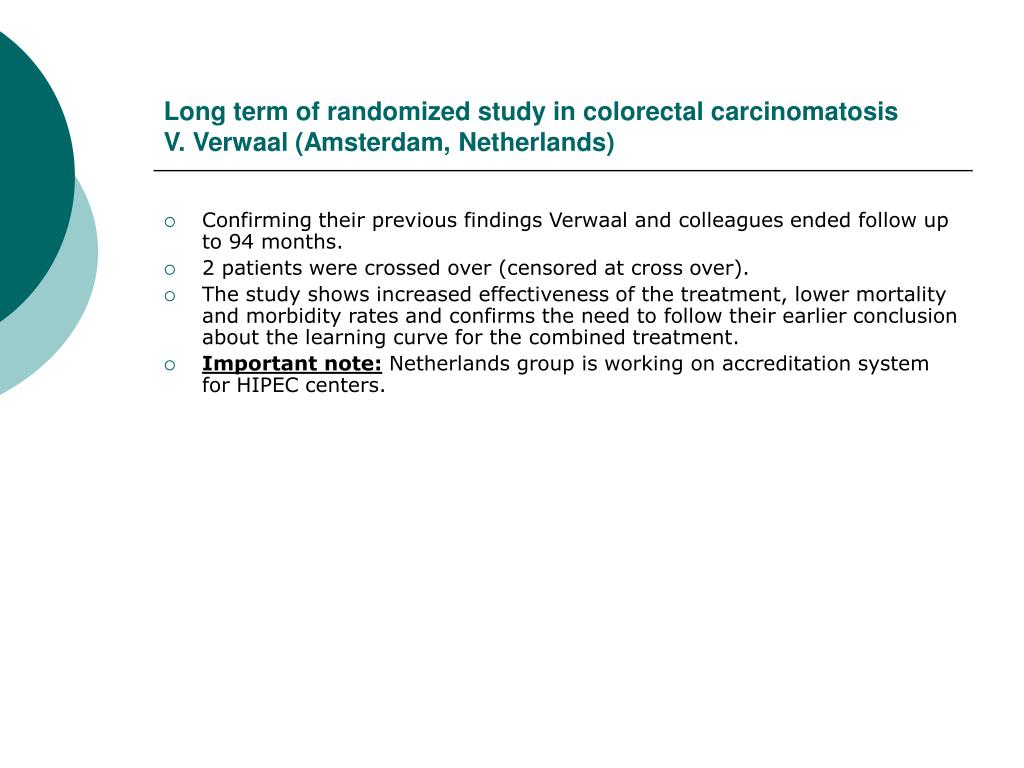 Long term of randomized study in colorectal carcinomatosis