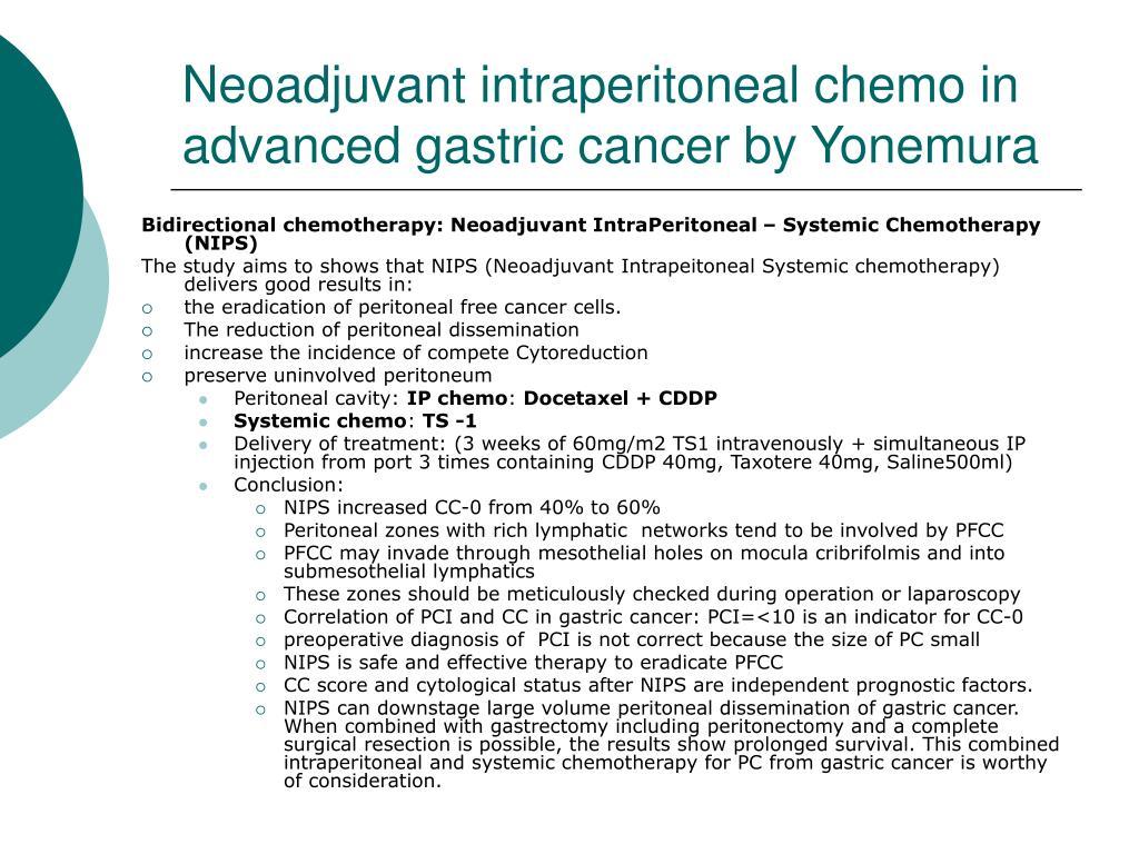 Neoadjuvant intraperitoneal chemo in advanced gastric cancer by Yonemura