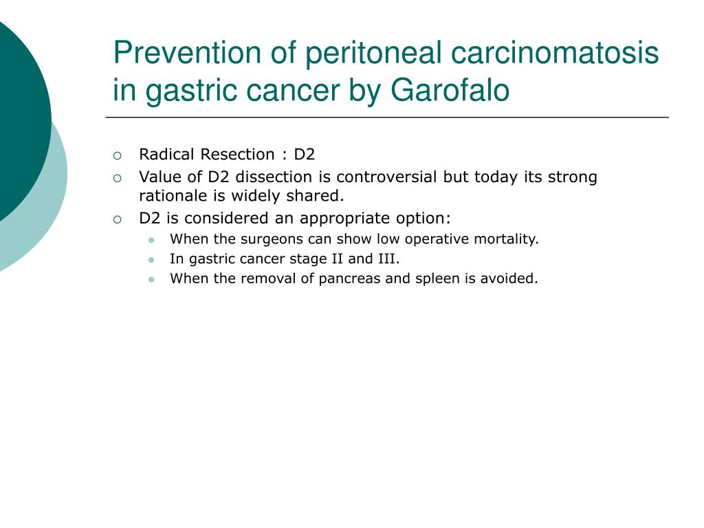 Prevention of peritoneal carcinomatosis in gastric cancer by Garofalo