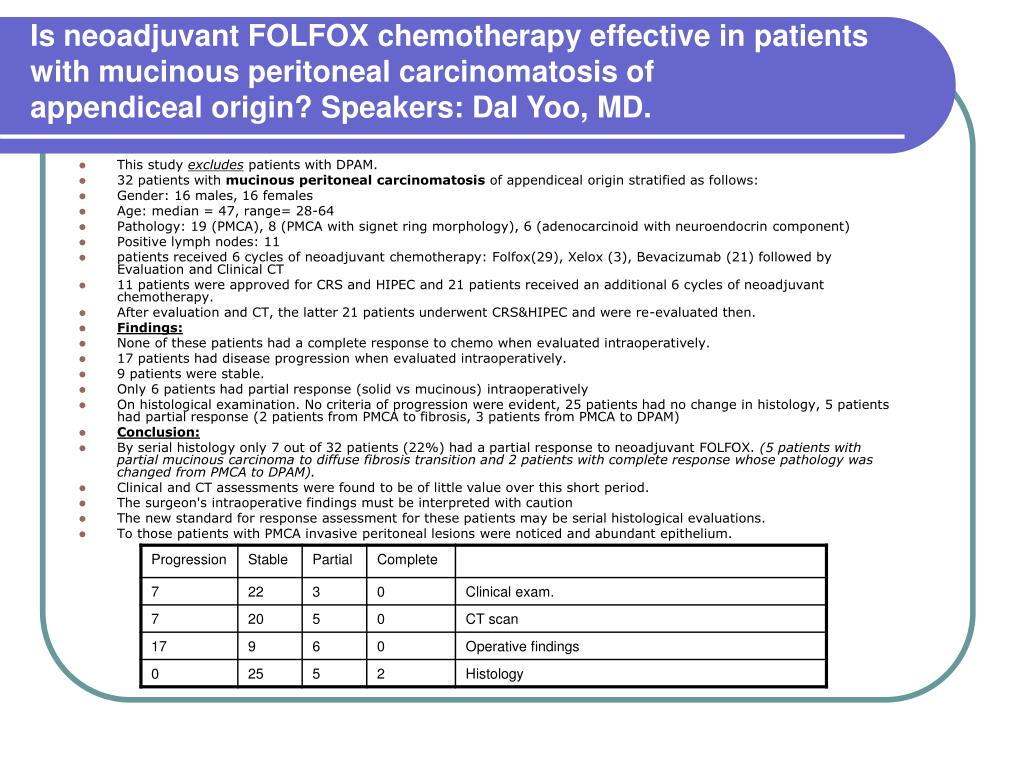 Is neoadjuvant FOLFOX chemotherapy effective in patients with mucinous peritoneal carcinomatosis of