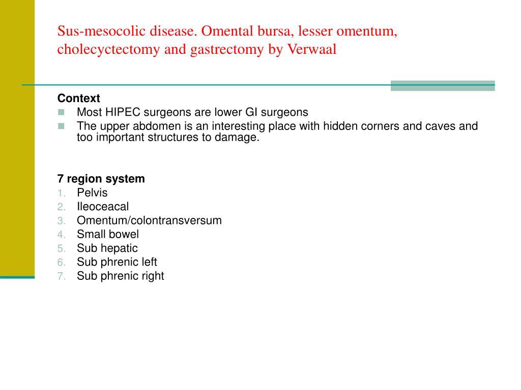Sus-mesocolic disease. Omental bursa, lesser omentum, cholecyctectomy and gastrectomy by Verwaal