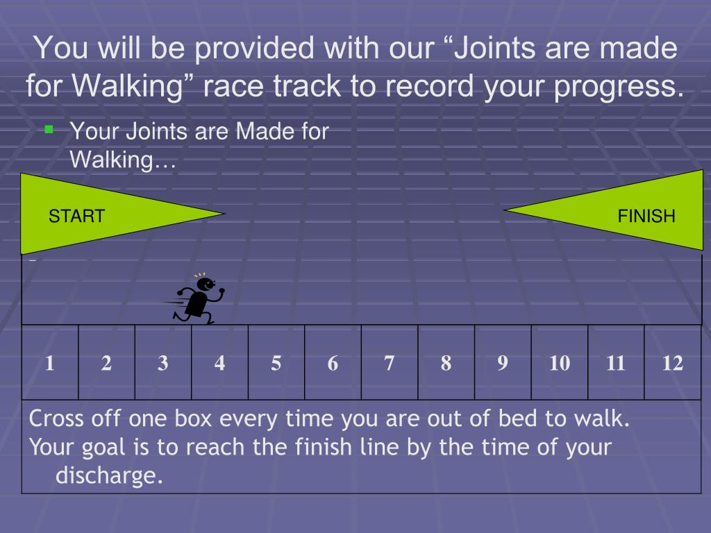 "You will be provided with our ""Joints are made for Walking"" race track to record your progress."