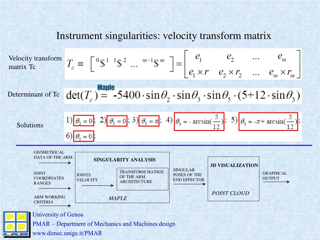 Instrument singularities: velocity transform matrix