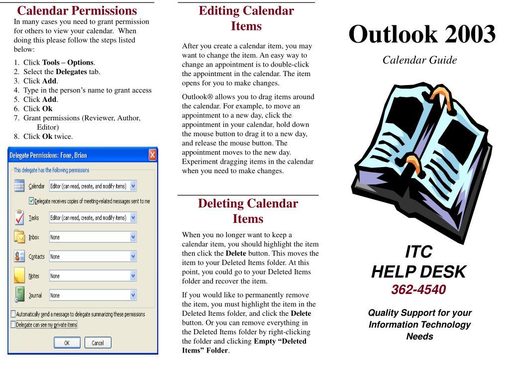 Editing Calendar Items